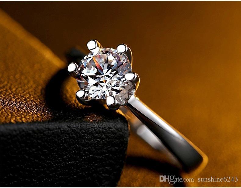 18 k clássico branco banhado a ouro multi cor grande imitação de diamante anéis Top Design 6 prong nupcial anel de casamento para as mulheres frete grátis
