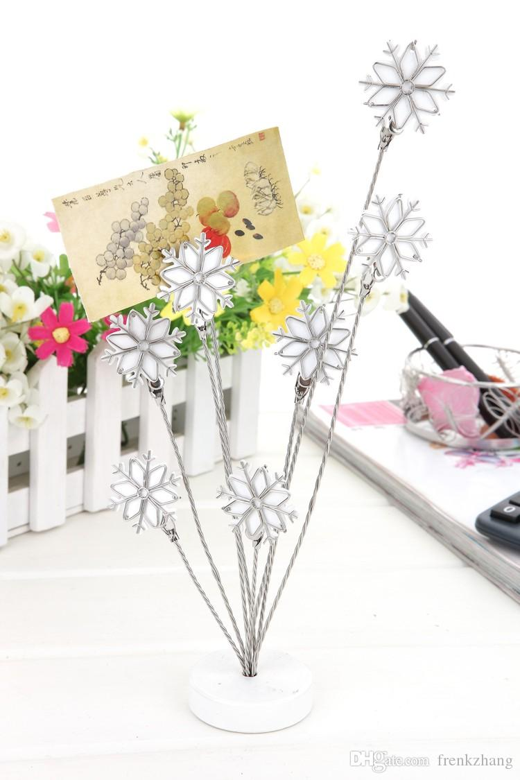 E3 SNOWFLAKE MULTI STEM NOTE CLIP NEW DESIGN NOVELTY CUTE CREATIVE STAINLESS HAND-MADE ART CRAFTS WEDDING BIRTHDAY HOME OFFICE GIFT PRESENT