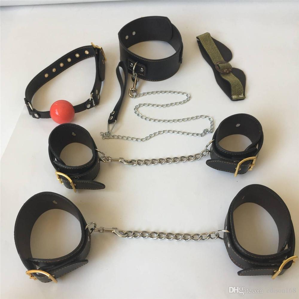 2018 Leather Bondage Sets Adult Game 5in1 Eyepatch Collar Mouth Gag Handcuffs Wrist Cuffs Fetters Erotic Positioning Bandage BDSM Sex Toy