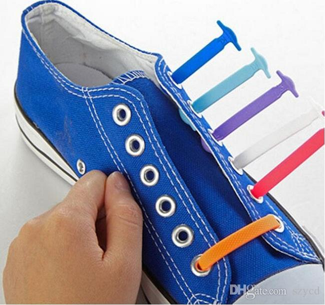 HOT Sale! Unisex Easy No Tie Shoelaces Elastic Silicone Shoe Laces Canvas For Walking, Running, Sneakers