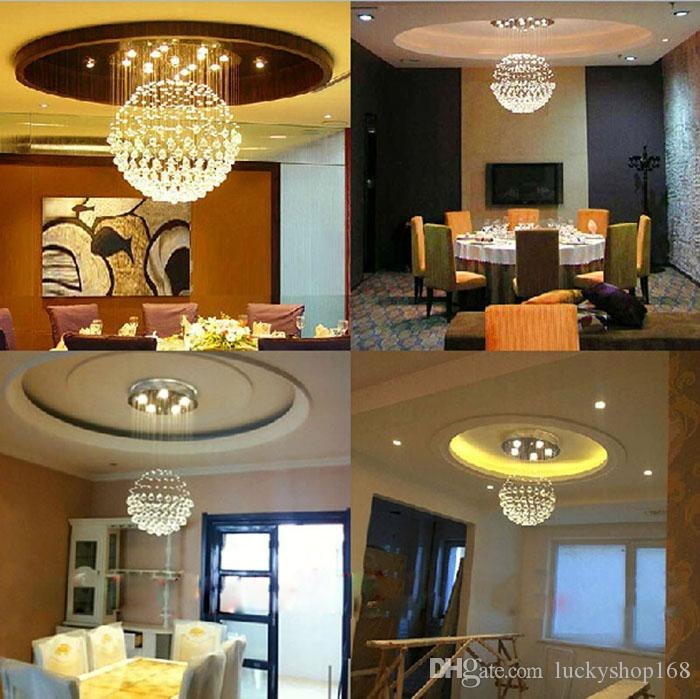 Factory Price!!! New Modern LED Ball K9 Crystal Chandeliers Fashionable Design Lamps Luxury Bulb Lights Hanging Wire Hotel Lighting DHL
