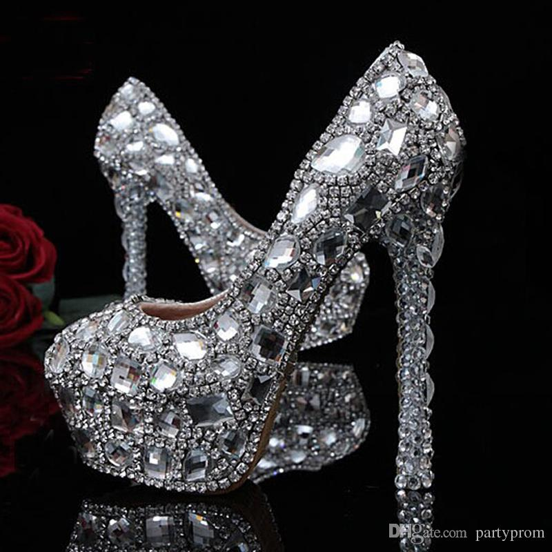 ba2cd22bc38c Diamond Luxury Party Prom Shoes Gorgeous Design Royal Jeweled Women High  Heels Bridal Wedding Dress Shoes Bridesmaid Shoes Ballet Wedding Shoes  Beach ...