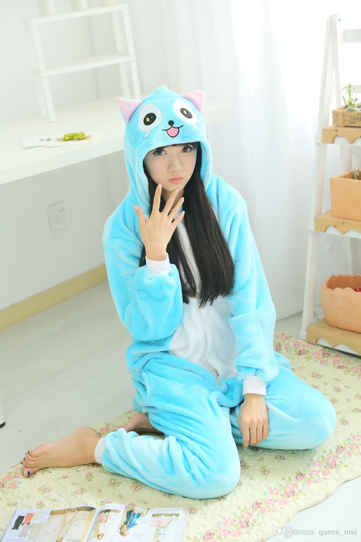 Polar Anime Fairy Tail Mutlu Kedi Onesie Çocuk Karikatür parti Cosplay Kostüm kadın Pijama yetişkin Mavi Mutlu Kedi Onesies tulum Kapşonlu