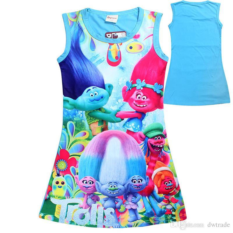 ea7d5566d0 2019 2017 Summer Girls Dresses Cartoon Trolls Big Girl Dress Outwear Cotton  Sleeveless Nightwear Kids Clothing Baby Girls Clothes Girls Clothing From  ...