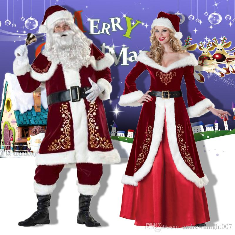 Plus Size Christmas Costumes.Plus Size Adult Men Deluxe Santa Claus Christmas Outfits Costumes For Men Women Plus Sie 6xl Free Shipping Drop Shipping