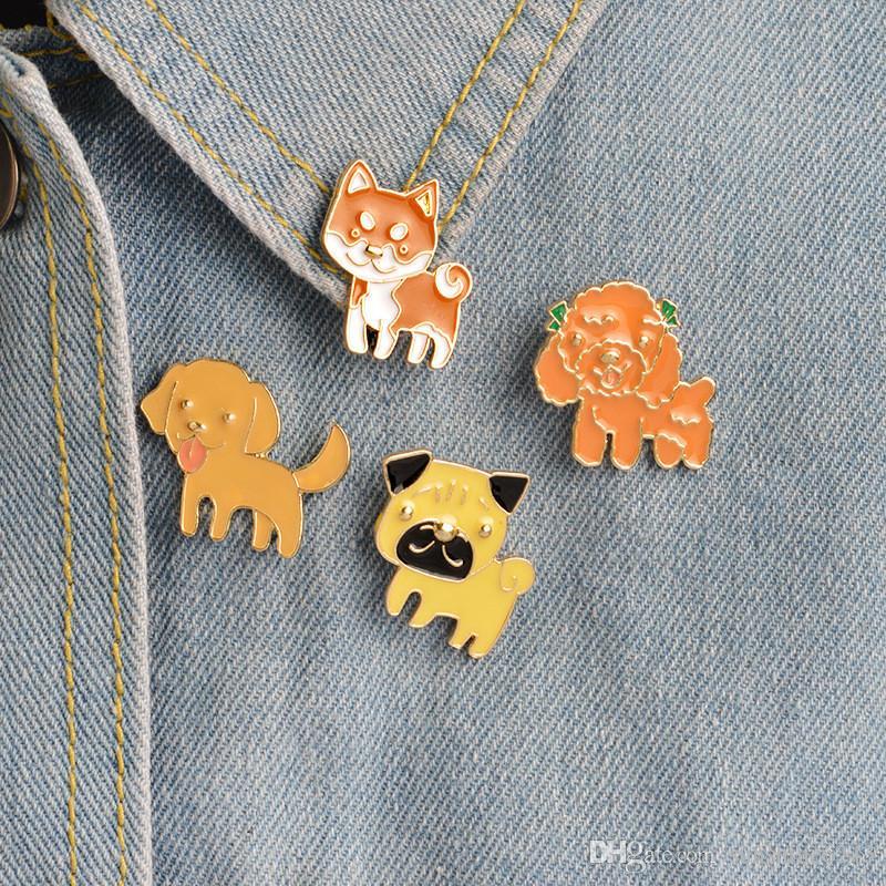 Пудель Померанский корги бульдоги собака броши жесткий эмаль Pin отворотом Pin знак подарок для любителей собак