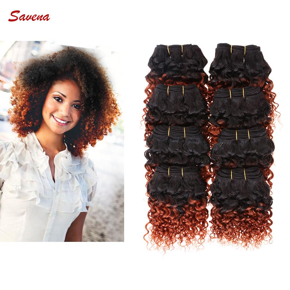 Afro Kinky Curly Human Hair Extension Ombre Color 1b350 8 Inch 8