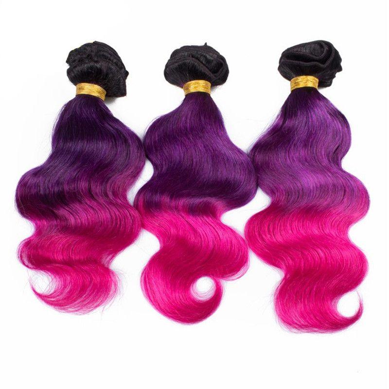 Trame di capelli umani a tre toni con chiusura frontale in pizzo 1b Ombre di colore rosa viola con chiusura frontale in pizzo 4 pz / lotto