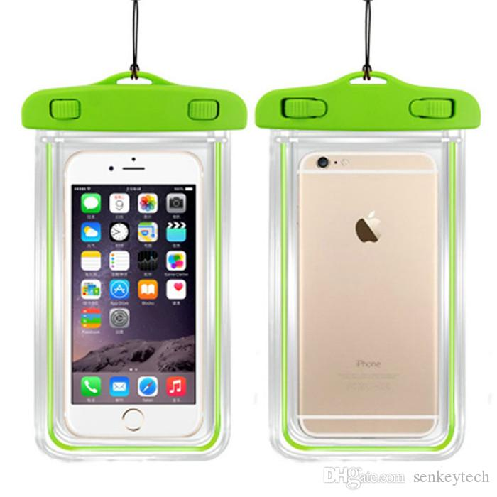 10 UNIDS Transparente Bolsa de Funda A Prueba de agua Para la cámara del teléfono móvil Luminoso Bolsas impermeables impermeables para IPHONE 4 4S 5 5S 6 6S PLUS