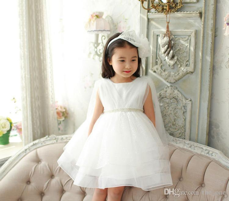 PrettyBaby 2016 summer white girls dress sleeveless pure white pearl belt mesh tutu dress