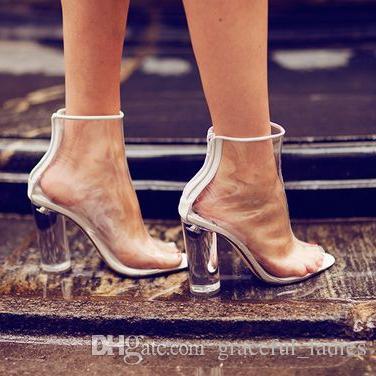 f18a70356a86 Acheter Chaussures De Mariage En Plastique Transparent Bottes Voir À Travers  Les Bottes De Femmes En PVC Courte Fermeture À Glissière Arrière Talons ...