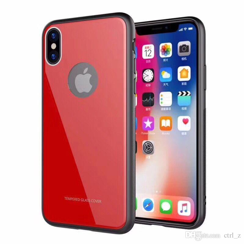 Tempered Glass Back Case for iPhone X 8 Plus 6 6S 7 Plus Ultra Thin Phone Cases Cover Gel Bumper Shockproof