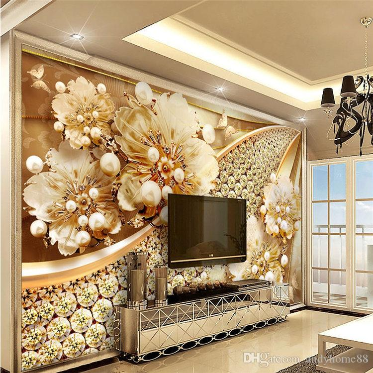 3d Wallpapers Stereo Embossed Patterns Jewelry Diamond Fresco ...