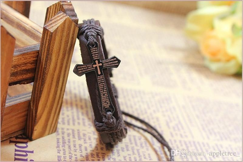 Braccialetto della bibbia trasversale Braccialetti di fascino intrecciati Monili degli uomini delle donne Braccialetto registrabile nero Handmade del cuoio retro monili all'ingrosso Caldo