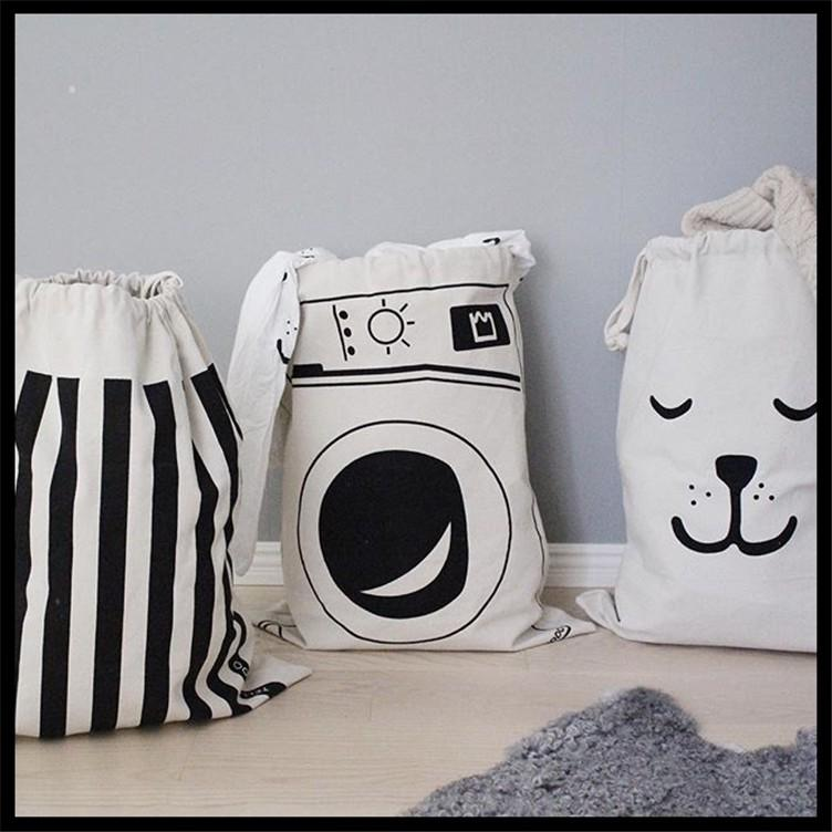 INS Baskets Bins Toys Storage Bags Baby Clothing Organizer Laundry Bag Canvas Kids Room Storage Bags Washing Bucket Hamper Bags