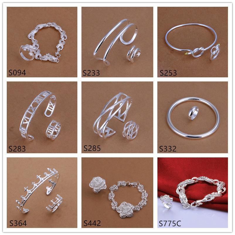 A estrenar diferentes estilo y color de plata de las mujeres conjuntos de joyas de plata DFMS44, moda 925 pulsera de plata Anillo conjunto de joyas