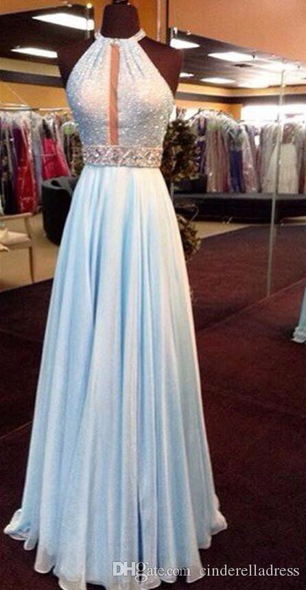 New Bling Halter Sequins Prom Dresses 2K16 High Neck A Line Chiffon Crystal Beaded Sash Backless Hollow Sexy Formal Evening Gowns Celebrity