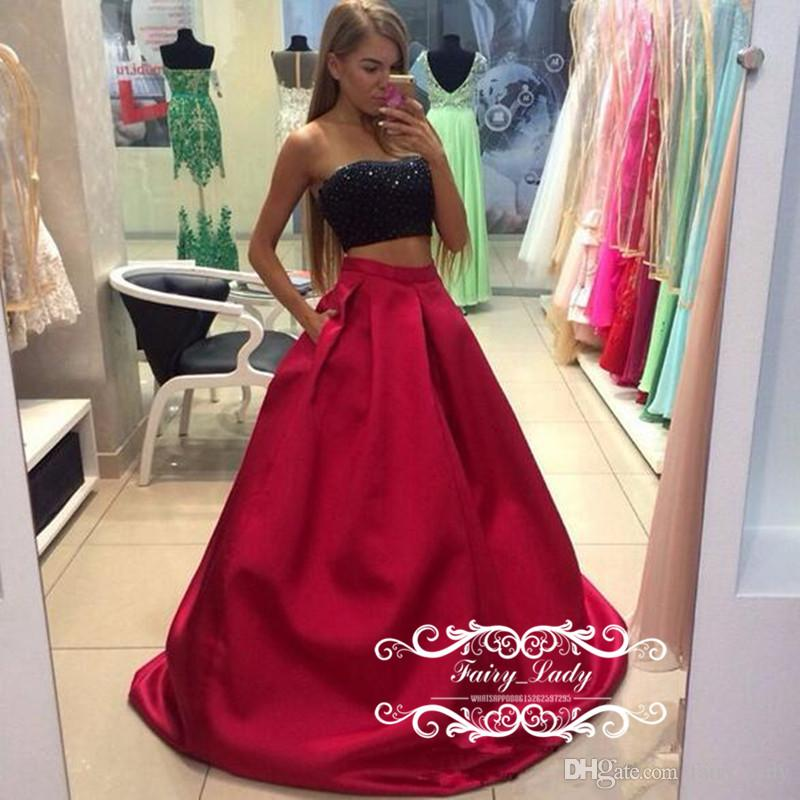Two Piece Crop Top Prom Dresses 2018 Black Top And Red Skirt Long ...