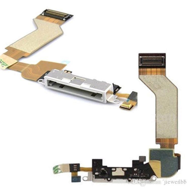 high Quality New Dock Connector Charging Port Flex Cable Replacement for iPhone 4 4G Black / White repair parts