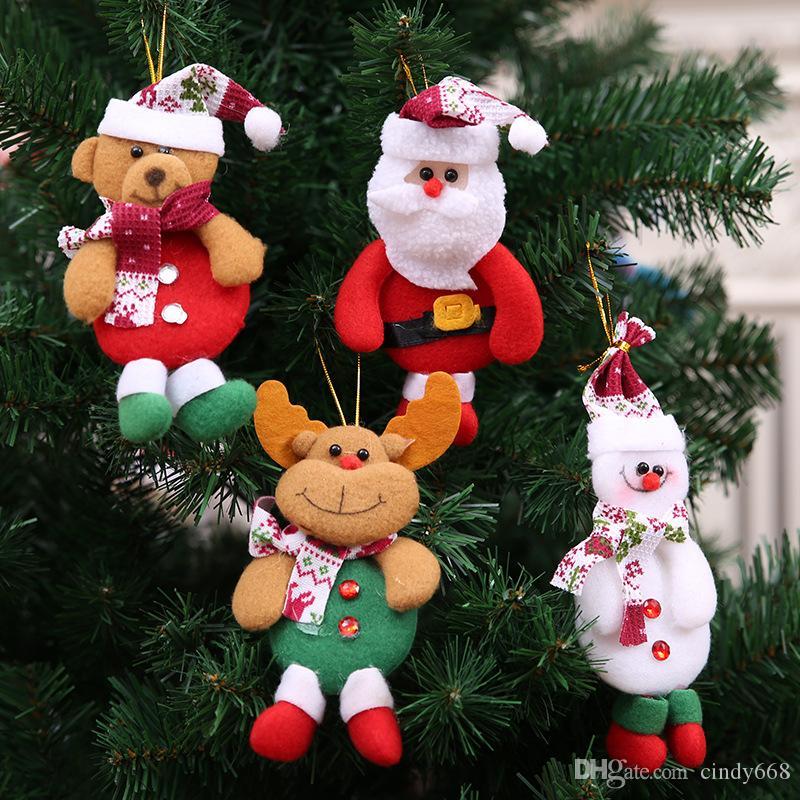 Großhandel Weihnachtsbaum Dekorationen 12 Stücke Santa Elk Bear ...