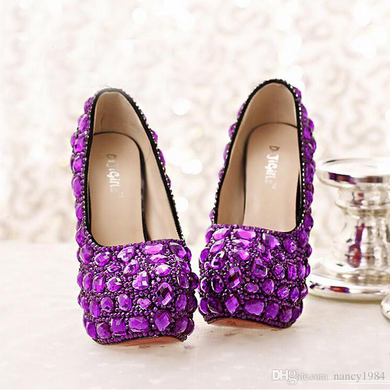 Purple Crystal Bridal Shoes High Heel Platforms Handmade Beautiful Rhinestone Wedding Party Shoes Luxury Graudation Prom Pumps