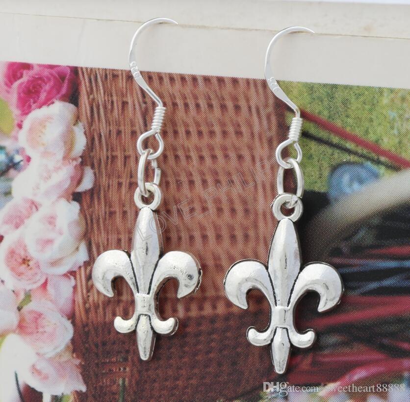 Ирис Fleur-де-Лис цветок серьги 925 серебряные рыбы уха крюк 40 пар / лот Античное серебро люстра E387 12.5x35mm