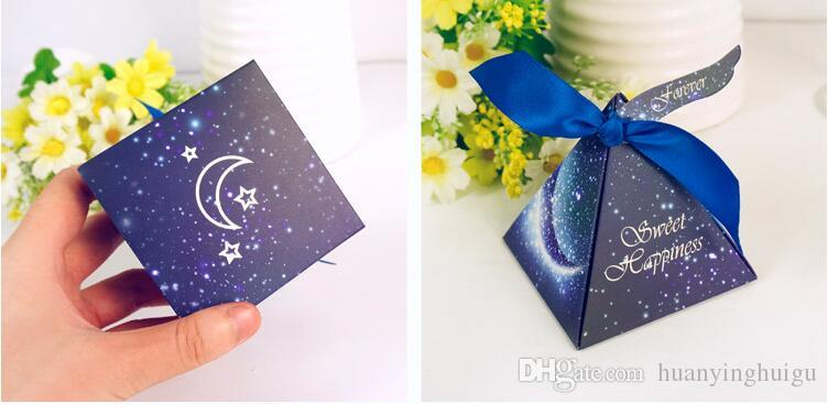 .European style blue starry sky Pearl paper triangle pyramid Wedding box Candy Box gift boxs wedding favour boxes THZ219