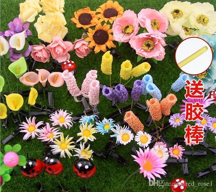 가장 최신 사랑스러운 참신 식물 잔디 헤어 클립 모자 작은 새싹 안테나 머리핀 행운의 잔디 콩나물 버섯 파티 헤어 핀