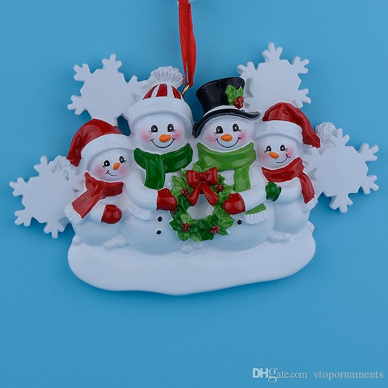 Snowman Family resin hanging Christmas ornaments with glossy as craft souvenirs for personalized 2018 gifts or home decorations