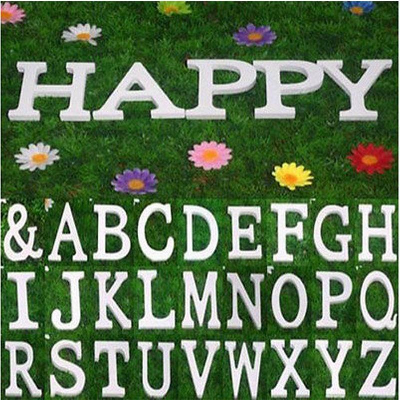 Sıcak Satış 27 ADET / TAKıM Ev Dekor Dekorasyon kalın Ahşap Ahşap Beyaz Mektuplar Alfabe Düğün Doğum Günü 8 cm X 1.2 cm