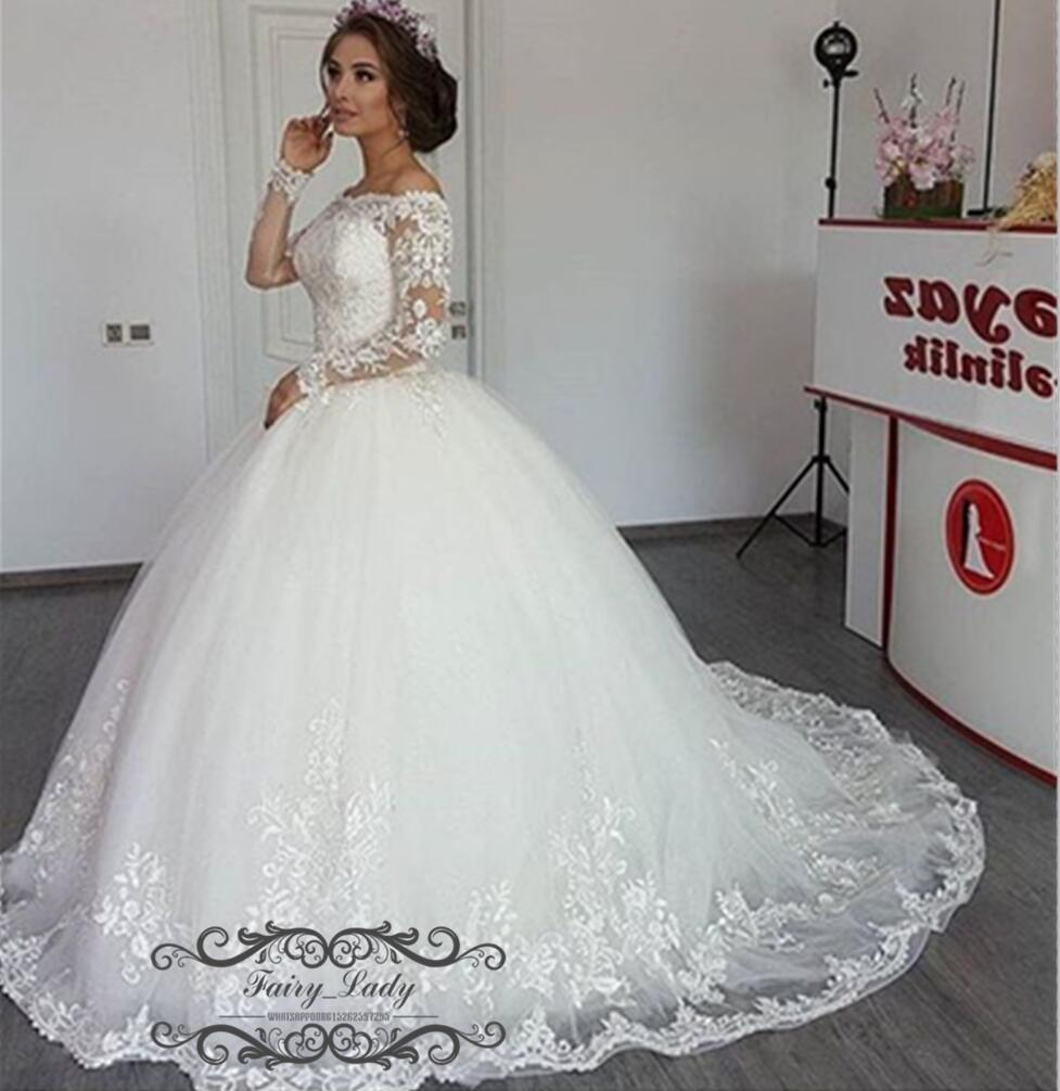 Sheer Lace Long Sleeves 2018 Country Wedding Dress Off Shoulder 3D-Floral Appliques Beading Puffy A Line Gorgeous White Bridal Dress Gowns