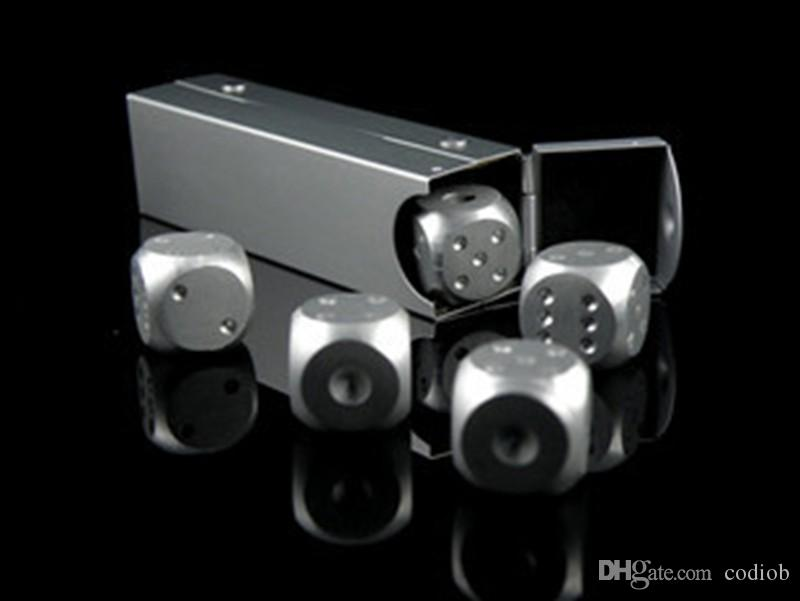 * 16mm Pure Aluminum Dice With Aluminium Alloy Rectangular Box Dice Set Party Drinking Games Gift Dices Sets Good Price #S41