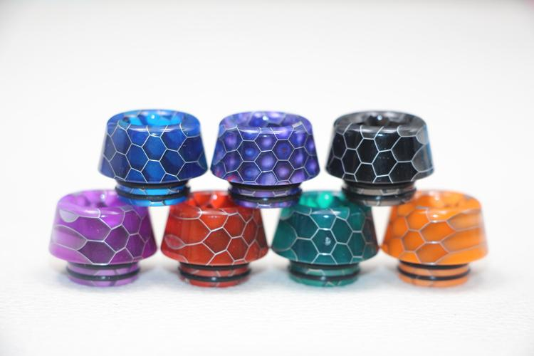 New Mushroom Head 810 Epoxy Resin Snake skin Drip tips For tfv8 tfv12 ecigs Wide Bore 810 thread grid Mouthpiece with Retail Package
