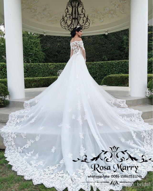 Detachable Cathedral Train Wedding Gown