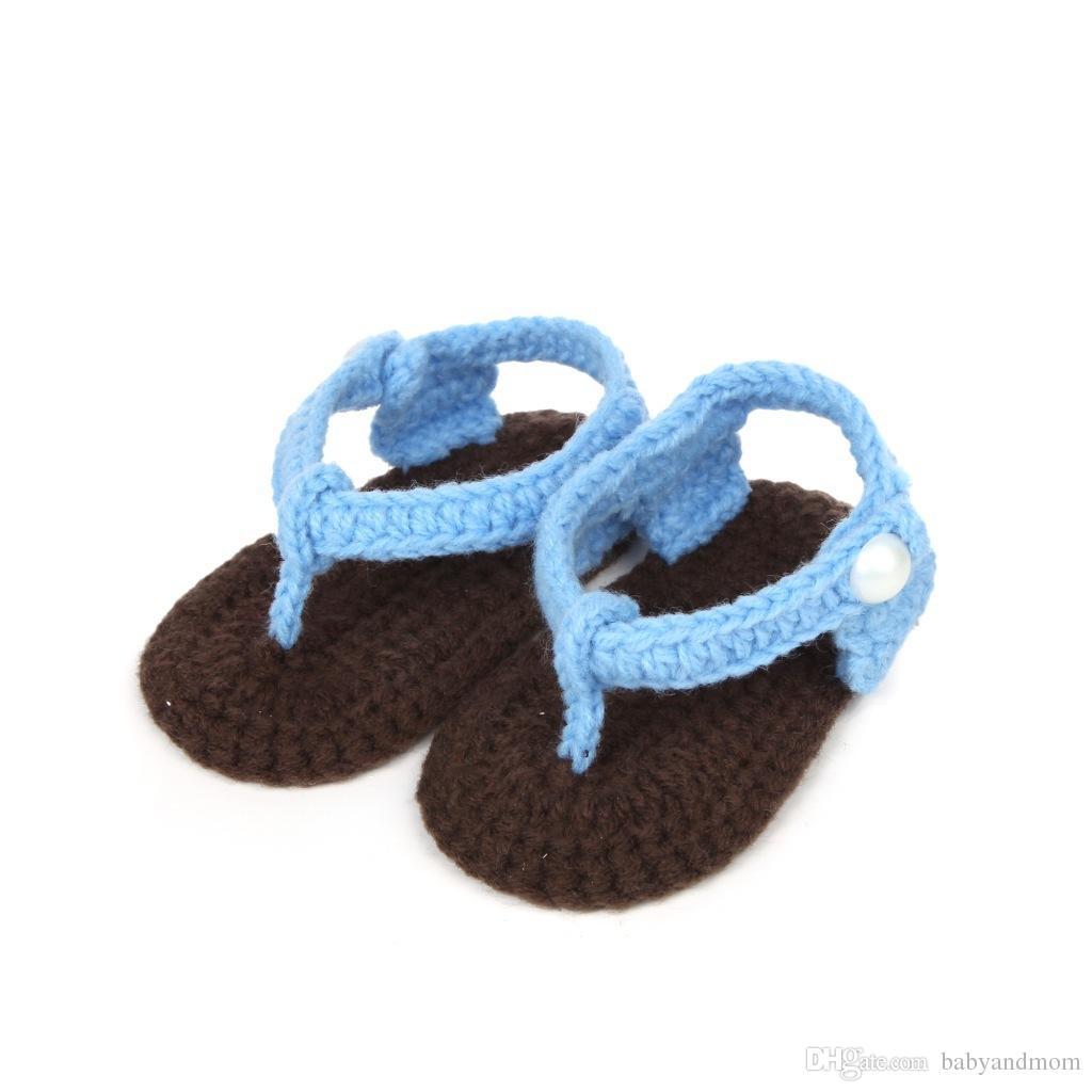 2016 New Beautiful 100% Algodão Fios sandálias de bebê. Véu de 100%! Sandálias de crochê para crianças. Cheap fundo macio