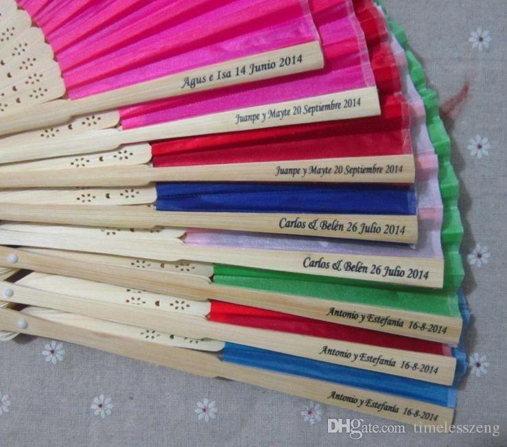 16 renkler kişiselleştirilmiş düğün hayranları baskı metin ipek kat el hayranları düğün iyilik ve hediyeler