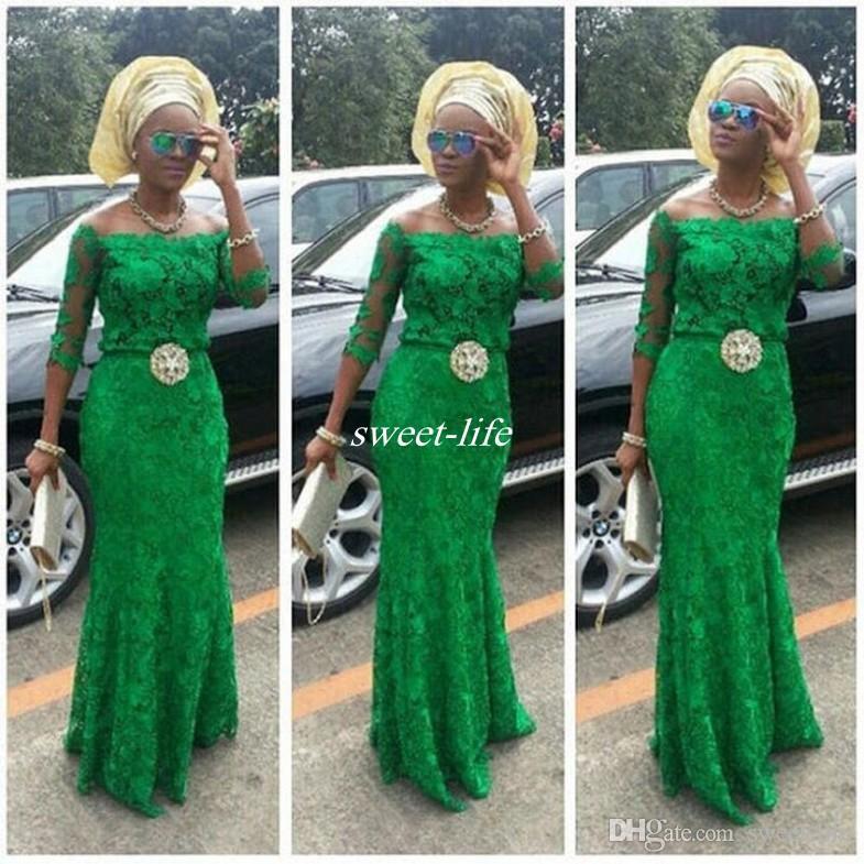 Encaje árabe verde esmeralda vestidos de baile manga larga 2020 moda africana fuera del hombro sirena con cuentas estilos nigerianos vestidos de noche bellanaija