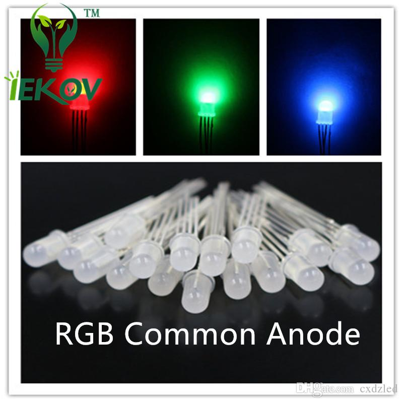 /bag High Quality 5mm Diffused COMMON Anode Red Green Blue RGB LED 4Pins Tri Color Emitting Diodes F5 RGB Diffused LEDs LIGHT