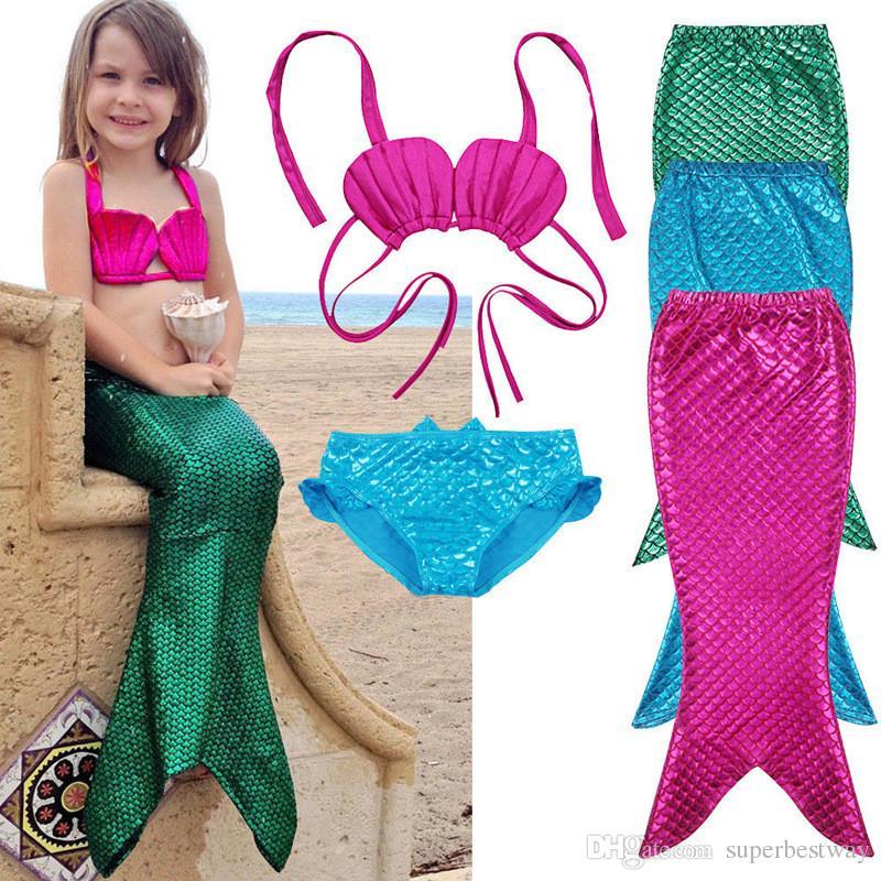 43aad6b771999 2019 Mermaid Bikini Girls Kids Mermaid Tail Swimmable Bikini Set Swimwear  Swimsuit Swimming Costumes OTH558 From Superbestway