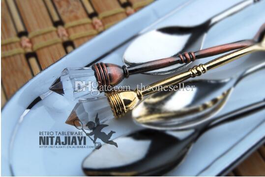 바 숟가락 아연 합금 많이 10.2cm 4 색 빈티지 모조 다이아몬드 미니 스푼 캐터링 장비 대여 JJ0084