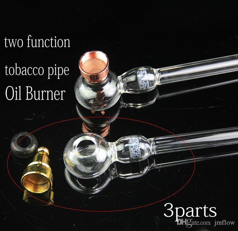 JMFLOWSHOP Zwei-Funktions-Ölbrenner-Tabakpfeifen mit Wabenfilterrohr Pfeifenbrenner aus klarem Glas