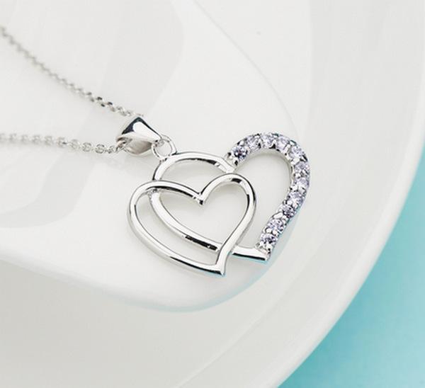 Corazón mujer colgante collar 925 plata amor encanto exagerado doble corazón collar de cristal joyería colgante para las señoras moda