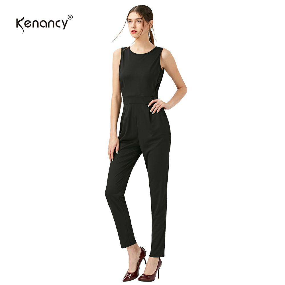 b7e89286a12 2019 Wholesale Kenancy 2017 New Formal Casual Black Jumpsuit Stripe Jumpsuit  Women Summer Straight Rompers Women Jumpsuit With Pocket Macacao From  Douban