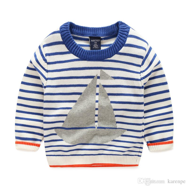 Kids Baby Cardigan Blue Striped Boat Design Boys Kids Sweaters ...