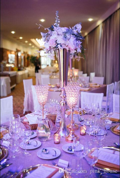 2018 Elegant Slim Tall Metal Gold Color Flower Vase Wedding Table