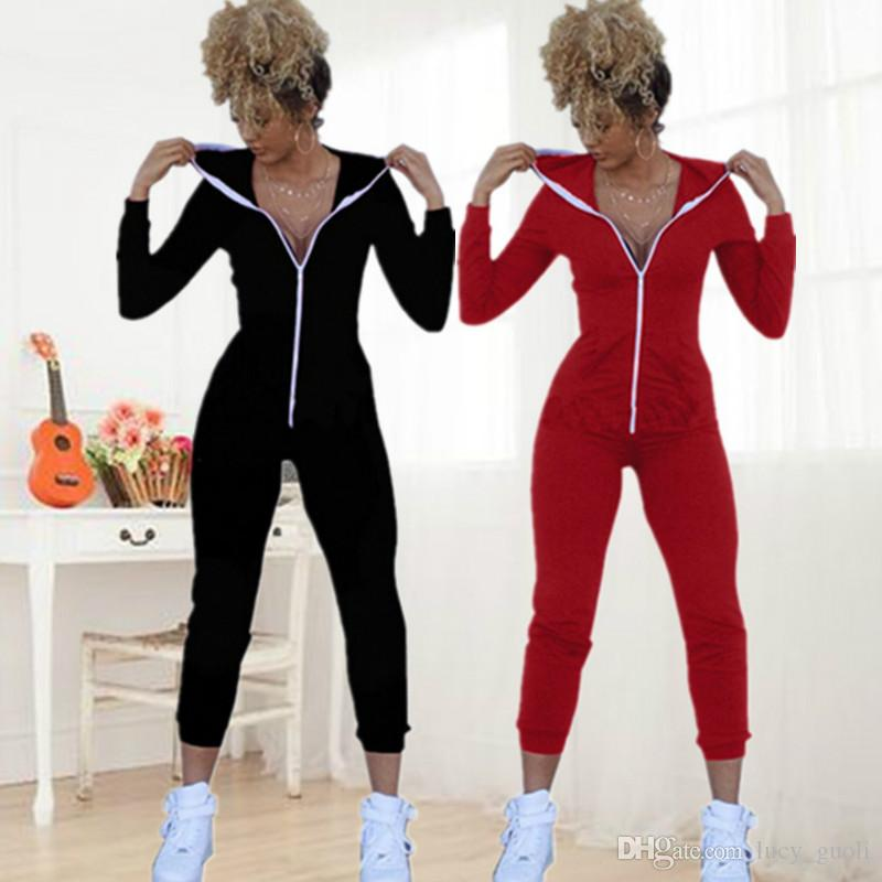 f872b7522f84 2019 2016 Winter Casual Women One Piece Outfits Jumpsuits Long Sleeve  Bodycon Front Zipper Hooded Long Pants Sexy Black Red Rompers Playsuit SML  From ...