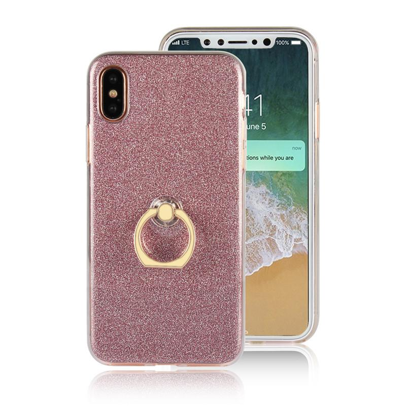 Shiny Thin Clear Soft TPU Case + Back Gliter Bling For IPhone 8 S6 S6edge Cell Phone Cover Case With Holder Stand For Samsung S8 plus i8