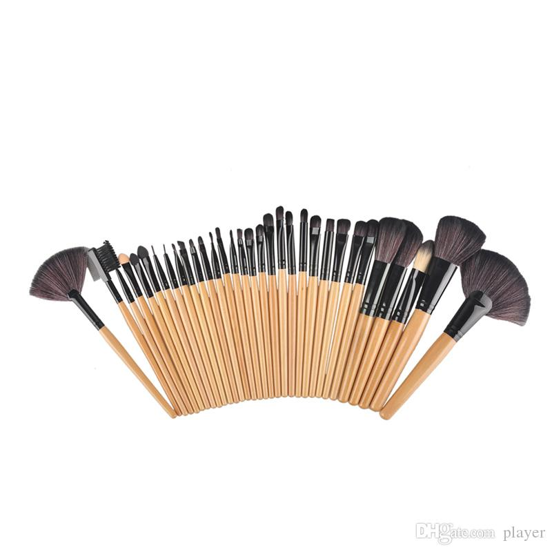 wood , Pink , black Make Up Tools Pincel Maquiagem Professional Superior Soft Cosmetic Makeup Brush Set Kit + Pouch Bag Case