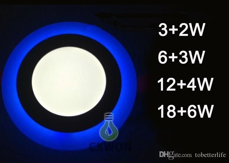 Led Downlight 6W 9W 16W 24W 3 modes d'éclairage Plafonnier LED Carré Acrylique Bleu + Blanc froid / Plafond Encastré Plafonnier AC85-265V
