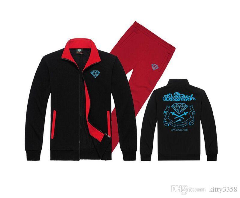 men s-5xl Tracksuit Diamond Supply sweat suit knitting leisure hoodies Male hoodie + casual sports pants